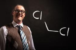 Professor presenting handdrawn chemical formula of dichloromethane molecule