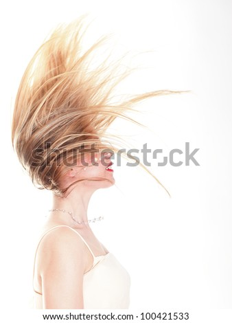 Profile beauty with the smart long hair, isolated girl with fly-away hair
