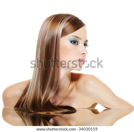 Profile Caucasian Female Face With Brown Health Hairs Stock Photo ...