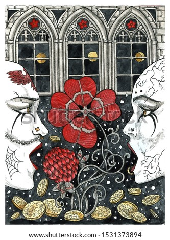 Profile faces of goth people, clover and treasures against castle windows. Colorful graphic engraved illustration. Fantasy and mystic drawing. Gothic, occult and esoteric background for Halloween