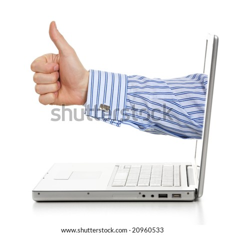 Profile hand success sign through a laptop. Isolated on a white background.