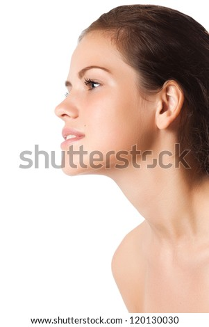 Profile of a beautiful young woman