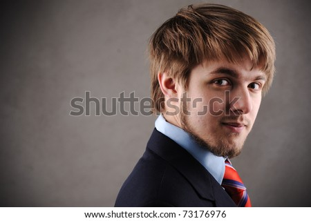 Profile of a handsome young blond man