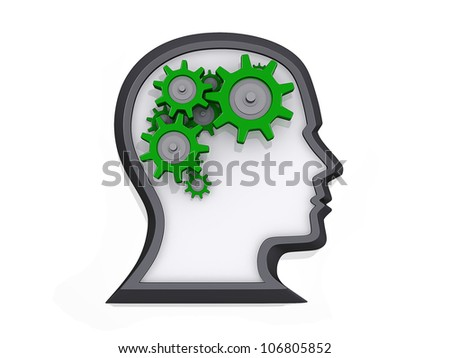 Profile of a head with gears that look like a brain on a white background.