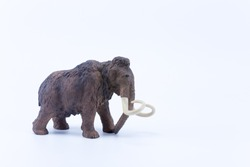Profile of a Mammoth toy on white background