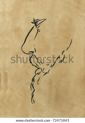 Profile of a man with beard. Hand drawn with black ink on sepia paper.