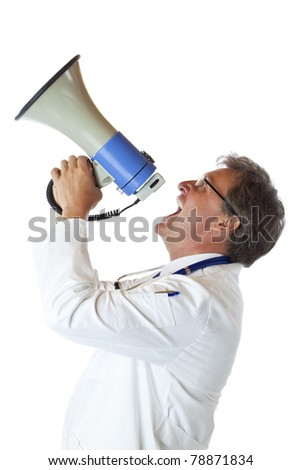 Profile of a resolute doctor screaming loudly in megaphone. Isolated on white background.