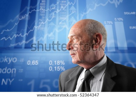 Profile of a senior businessman with exchange graphics on the background