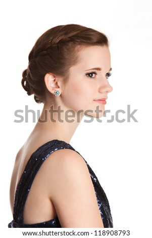 Profile of a teen wearing ready for prom - stock photo