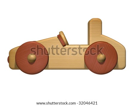 Profile of a wooden toy car