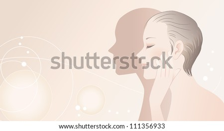 Profile of  beautiful spa woman touching her face after skin care. Young skin. Perfect skin.
