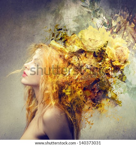 Stock Photo profile of blond woman with beautiful hairstyle