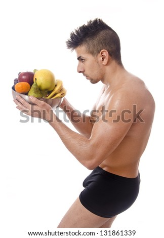 Profile of healthy diet. Isolated fitness man.