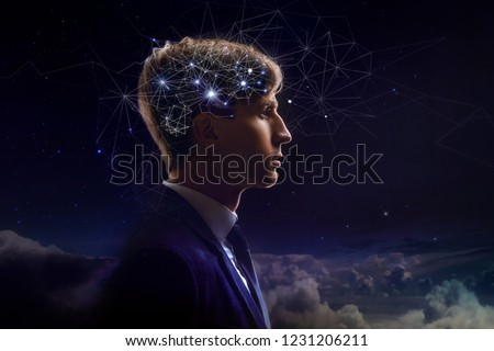 Profile of man with symbol neurons in brain. Thinking like stars, the cosmos inside human, background night sky #1231206211