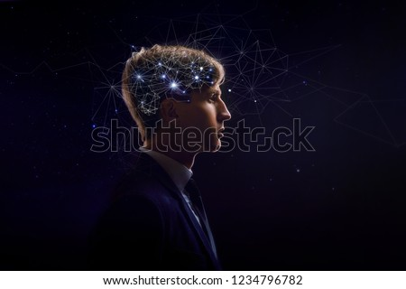 Profile of man with symbol neurons in brain. Thinking like stars, the cosmos inside human, background night sky