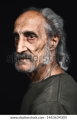 profile of senior man with gray hair and bold with serious expression. close up side view portrait.philosopy of life. senility concept. decline #1463634305