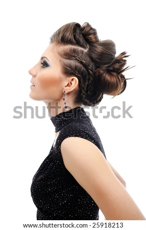stock photo : Profile of woman with stylish hairstyle - white background