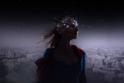 Profile of young attractive woman with symbol neurons in brain. Thinking like stars, cosmos inside human, background panorama the city