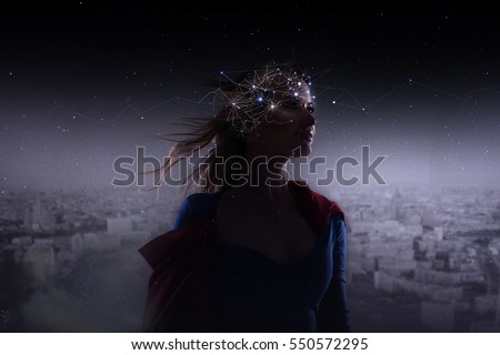 Photo of  Profile of young attractive woman with symbol neurons in brain. Thinking like stars, cosmos inside human, background panorama the city