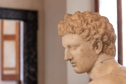 Profile of young man - marble roman statue
