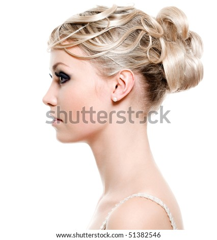 Lifestyle - Pagina 4 Stock-photo-profile-of-young-woman-with-beauty-fashion-hairstyle-on-white-background-51382546