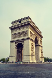 Profile or side view of Arc of triumph in Paris France