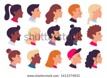 Profile people portraits. Male and female face profiles avatars, side portrait and heads. Person web user avatar, hipster character portrait. Isolated flat  illustration icons set