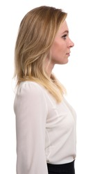 profile portrait of a beautiful blonde woman. Isolated on white background