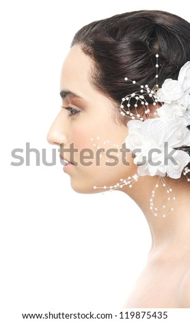 Profile portrait of a beautiful face isolated on white background