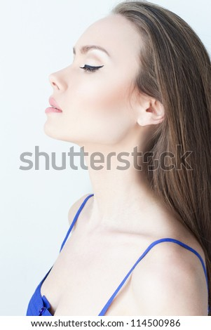 Profile portrait of a gorgeous young woman,