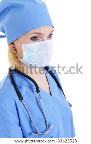 Profile portrait of woman surgeon in medical mask on face