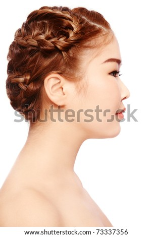 Profile portrait of young beautiful asian girl on white background
