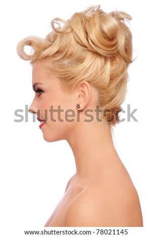 Lifestyle - Pagina 4 Stock-photo-profile-portrait-of-young-beautiful-sexy-blonde-with-stylish-hairdo-on-white-background-78021145