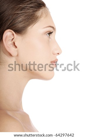 profile portrait of young woman - stock photo