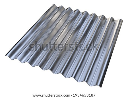 Profile sheet of metal isolated on white. 3d rendering Foto stock ©