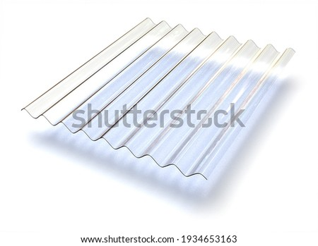 Profile sheet of transparent plastic isolated on white. 3d rendering Foto stock ©