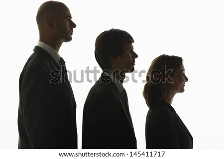 Profile shot of businesspeople standing in row in height order against white background
