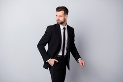Profile side photo of attractive man worker put his hand pocket go look copyspace wear classy formalwear pants trousers isolated over grey color background