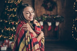 Profile side photo of positive cheerful brunette hair girl covered by checkered blanket hug herself feel warmth soft comfort in house with christmas decor lights indoors