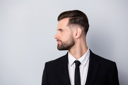 Profile side photo of strict masculine entrepreneur look copyspace listen to his employee wear formalwear stylish classy outfit isolated over grey color background