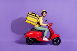 Profile side view of her she nice attractive cheerful girl riding bike delivering, bringing cafe food order fast speed express isolated bright vivid shine vibrant lilac violet purple color background