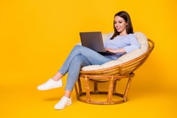 Profile side view of her she nice attractive pretty focused smart cheerful girl sitting in wicker chair working laptop remote client support isolated bright vivid shine vibrant yellow color background