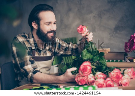 Profile side view photo cute charming sweet lovely millennial hold hand rosebud environment self-employed small business representative hobby gift present holiday 8-march occupation plaid shirt #1424461154