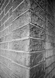 Profile View of a Corner Wall Made From Carved Limestone Blocks.