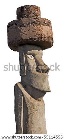 Profile view of Easter Island Monolith. With white background and clipping mask.