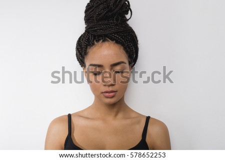 Profile view of young woman with eyes closed #578652253