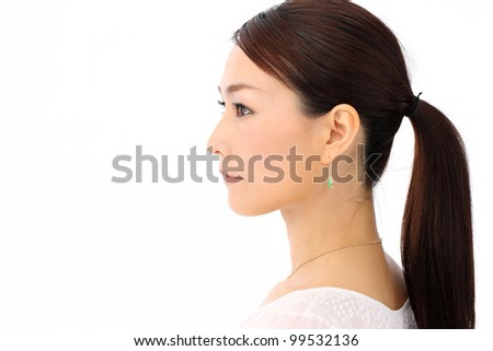 Profile woman. portrait of a beautiful young woman. Bright and isolated on white.