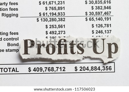 Profit abstract - numbers and newspaper cutout abstract.