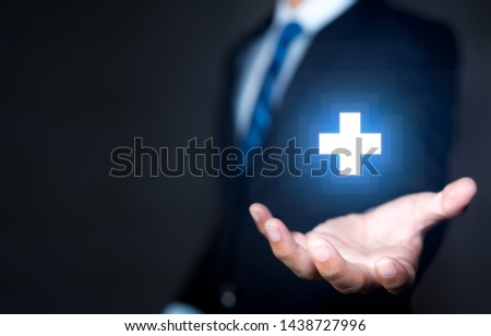 Profit and benefits concepts, Businessman holding positive icon