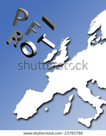 Profit letters tumble over map of Europe
